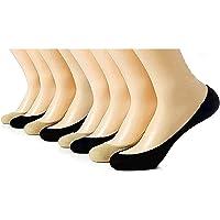 MUKHAKSH (Pack of 3+3=6 Pairs) Women's/Girls/Ladies Hot/Stylish Black + Skin Colour (Beige) Cotton Loafer/Liner Socks…