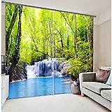 Chlwx 3D tapete Moderne Baum Wasserfall 3D-Vorhänge Vorhänge Für Bett Wohnzimmer Büro Hotel Vorhänge TapisserieHöhe240cm X Breite400cm