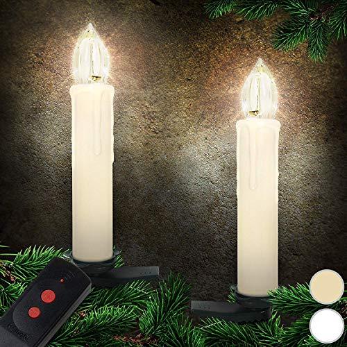 Kabellose LED Lichterkette Christbaumkerzen   Weihnachtskerzen Weihnachtsbaumbeleuchtung inkl. Fernbedienung Farbwahl und Setwahl (Beige, 40)
