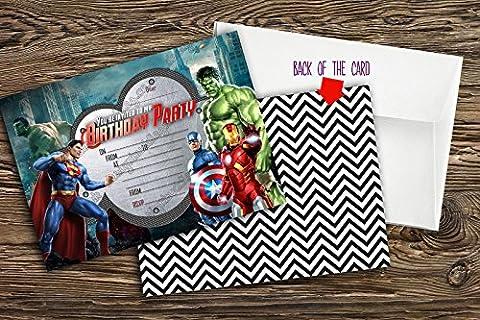 Neuf garçons Invitation de fête d'anniversaire. de Super Héros Marvel Hero, Avengers 10cartes + 10enveloppes, 10
