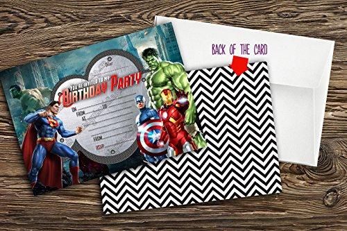 New Jungen Geburtstag Party Einladungen Super Hero. Marvel Hero, Avengers 10Karten + 10Briefumschläge, 20