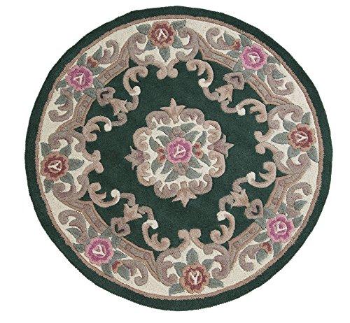 Tappeto cinese originale, classico Aubusson, con motivo floreale rotondo tradizionale,