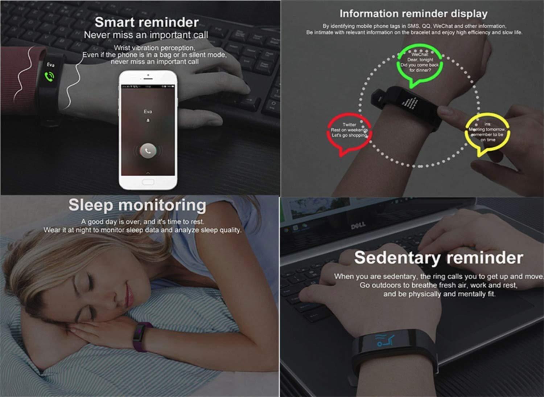 Pulsera Actividad,Impermeable IP67 Pulsera Inteligente con Pulsómetro, Reloj Inteligente para Deporte, Podómetro, Pulsera Deporte para Android y iOS Teléfono móvil para Hombres Mujeres Niños 3