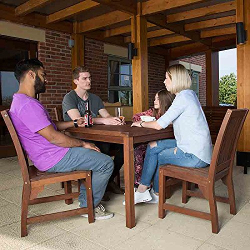 BrackenStyle Devon Hardwood Dining Set With Square Table and 4 Chairs Suitable as Outdoor Furniture or for Indoor Use