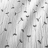 Stoff Meterware Baumwolle Musselin weiß schwarz Pusteblume