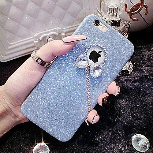 iPhone 5/5S Fall, unnfiko Beauty Luxus Diamant Glitzer Gummi Bling Soft glänzend Sparkling mit Crystal Strass Schleife Schutzhülle für iPhone 55S 5G, Blau (5s Bling Iphone Case Lifeproof)