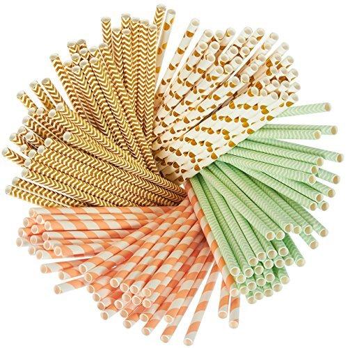 alme-biologisch abbaubar, mint grün, metallic gold, Polka Dots, Koralle Streifen, und Chevron Design Bulk Trinkhalme ()