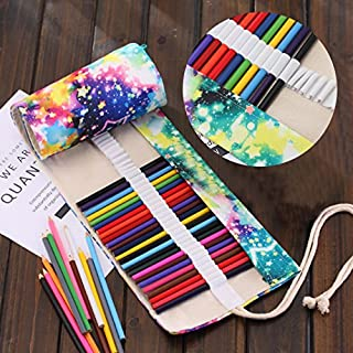 Canvas Pencil Wrap, Asnlove Roll Up Pencil Case Travel Drawing Pencils Holder Pouch Pocket Bag for School Office Art Sketch, 72 Colored Pencils