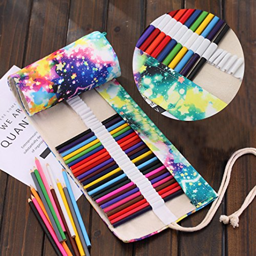 Leinwand Stifterolle, Asnlove Retro Pencil Wrap Roll up Holder Rollentasche Federmappe Schlamperrolle Mäppchen Bleistiftkasten Farbige Stifte für Buntstift aus Canvas für Make up / Schule / Büro / Kunst, Sternenhimmel