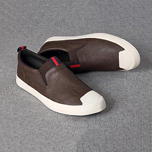 YIXINY Chaussures de sport Mode PU Chaussures Pour Hommes Adolescent Chaussures De Plaque Loisirs Paresseux Printemps / Automne ( Couleur : Marron , taille : EU42/UK8.5/CN43 ) Marron