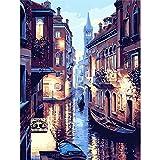Shukqueen Ölgemälde für Erwachsene, Malen nach Zahlen, Acrylmalerei – Venedig, 40,6 x 50,8 cm, Frameless,Just Canvas