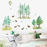 WandSticker4U® - XL Aquarel Muurtattoo REHE & BOUME I Muurfoto's: 140x100 cm I Muurstickers Bos Dieren Ballon Jungle Stickers