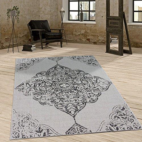 In- & Outdoor Teppich Vintage Design Ornamente Paisley Muster Elegant In Grau , Grösse:60x100 cm (Indoor-teppich-fliesen)