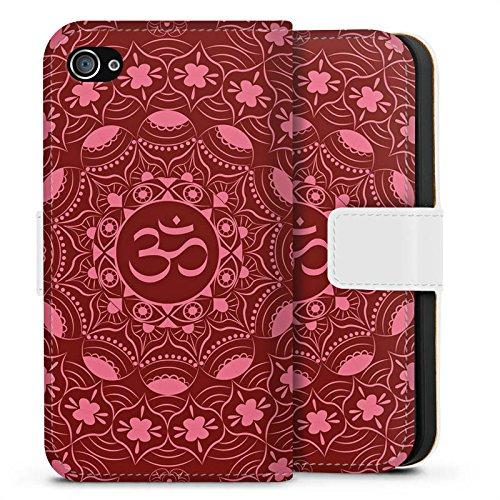 Apple iPhone X Silikon Hülle Case Schutzhülle Mandala Sommer Rot Sideflip Tasche weiß