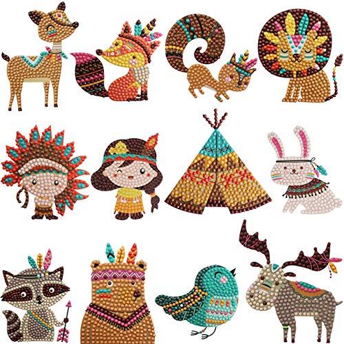 Bestlus Wirklich 5D Diamant Malerei DIY Kits für Kinder motiviert die Kreation von Kindern Einfache Kinder Diamant Malerei Kunst Kits nach Zahlen - 12 x indische Cartoon Figuren -
