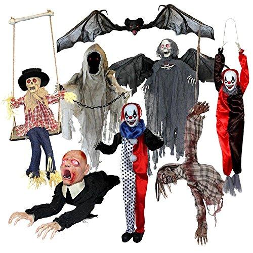 8 TEILIGE DELUXE HALLOWEEN GRUSELIGE MARIONETTEN DEKORATION VARIATION = ZUM AUFHÄNGEN MIT SOUND UND GLÜHENDEN AUGEN = DIE PERFEKTE HORROR REQUISTE ZUM DEKORIEREN IHRER PARTY AN HALLOWEEN = 8 VERSCHIEDENEN (Tv Figuren Halloween Kostüme Show)