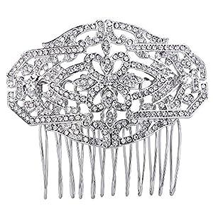 TENYE Damen oesterreichische Kristall 1920s Stil Blume Knot Hochzeit Haarkamm klar