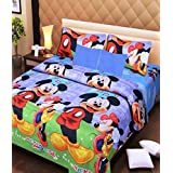 Cotton Bedsheet for Kid's Bed with 2 Pillow Cases (Size 90*100, Multicolour, Mickey)