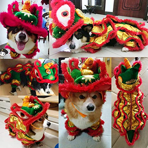 Fernando Guapo 1 Stück Fashion Lion Head Dance Pet Kleidung Chinese New Year Kostüm Jumpsuit Small Pet Puppy Coat Hoodie, XL