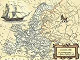 Artland Qualitätsbilder I Wandbilder Selbstklebende Wandfolie 120 x 90 cm Landschaften Landkarten Graphische Kunst Sepia C2FJ Europakarte