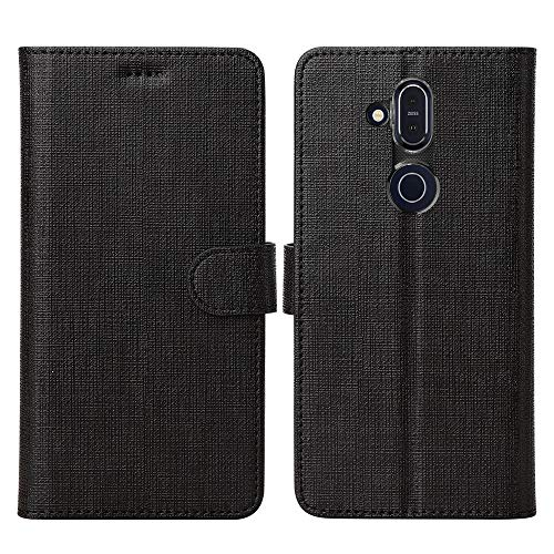 DDJ Nokia 8.1 Hülle,Leder Tasche Flip klappbares Case Cover Standfunktion Kartenfach Magnetverschluß Card Holder kristallklarer TPU Stoßstange Wallet Schutzhülle Handyhülle für Nokia 8.1 (Schwarz)