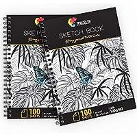 """⭐ Pack de 2 x Bloc de Dibujo Profesional, A4 (9""""x12"""") con Espiral - 200 x Hojas Blancas (100gr) - Cuadernos de Dibujo con Tapa Rígida - Block de Páginas Vírgenes para Dibujar, Garabatear"""