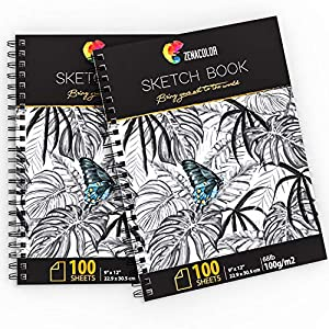 ⭐ Pack of 2 x Professional Sketch Book, A4 (9″x12″) with Spiral Bound – Pad of 200 x White Art Paper Pages (100 g) – Blank Artist Sketchbook with Hardback Cover, Easy Tear Out for Drawing, Artists