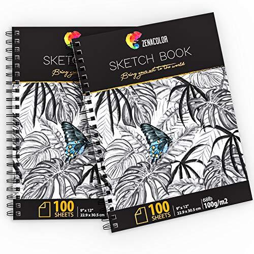 Pack de 2 x Bloc de Dibujo Profesional, A4 (9'x12') con Espiral - 200 x Hojas Blancas (100gr) - Cuadernos de Dibujo con Tapa Rígida - Block de Páginas Vírgenes para Dibujar, Garabatear