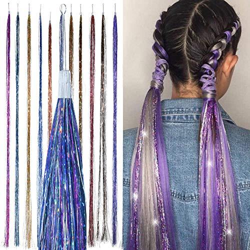 Mädchen Festival Kostüm - Meerjungfrauen-Mix, Haarglitzer - HAIR DAZZLE - Meerjungfrau-Kostüm-Haare, Meerjungfrauen-Party, Zubehör für Festival-Haare, Festival Glitter, Haarzubehör für Mädchen