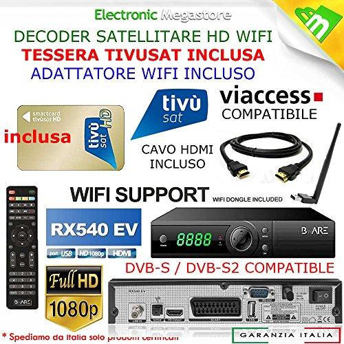 Decoder Satellitare HD compatibile con tessera Tivusat è con tessere Viaccess CON TESSERA TIVUSAT INCLUSA Bware RX540EV