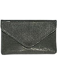 CASPAR TA357 große elegante Damen Glitzer Envelope Clutch Tasche / Abendtasche