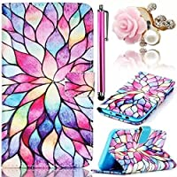 Vandot Case Cover Per Motorola Moto X Play Attraente Color Pattren Wallet Custodia Briefcase di Silicone PU Leather Pelle Protettiva Shell Skin Protector Multifunzione Book Stand Magnete Snap-on Stile + Cristallo Strass Anti Dust Plug e Stylus Pen