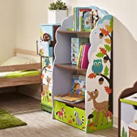 Fantasy Fields - Enchanted Woodland themed Blue Book Case Kids Wooden Bookcase with Storage Drawer| Hand Crafted & Hand Painted Bookshelf | Child Friendly Water-based Paint