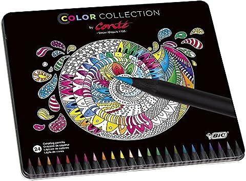 BiC Conte Limited Edition Colouring Pencil - Multi-Coloured, Tin of