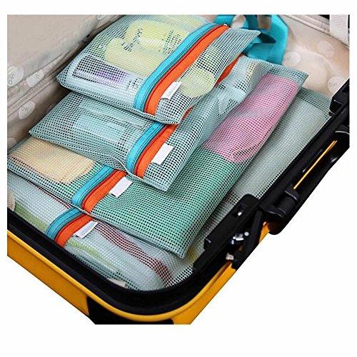 GOOTRADES 4 Stk Verschiedene Größen Reisetaschen Mesh Travel Storage Organizer Plus Zahnbürstebox (Rosa) Grün