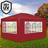 Deuba Festzelt Maui 3x4m Rot | 12m² Pavillon mit 4 aufrollbaren Seitenwänden | wasserabweisend | UV-Schutz 50 + | Farbauswahl