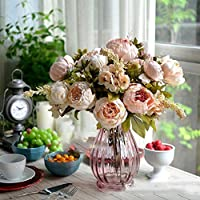BestMall Bouquet of Artificial Flowers with Pink Peonies for Weddings/Festivals