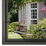 Homein Fliegengitter für Fenster Schwarz 130 x 150 cm, Mückennetz zum Insektenschutz Selbstklebend Moskitonetz mit Klettband Kleben Klettverschluss Wetterfest Netz