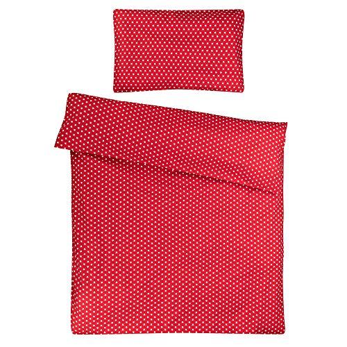 Sugarapple Kinderbettwäsche, 2 TLG. Set mit Deckenbezug 100 x 135 cm und Kissenbezug 40 x 60 cm, Kinder Bettwäsche aus 100% Baumwolle mit Reißverschluss, rot mit weißen Sternen (Rote Baby-bettwäsche)