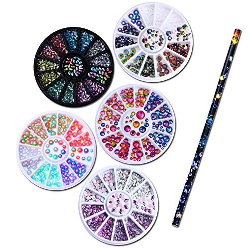 NICOLE DIARY 5 Boîtes 3D Nail Art Strass Décoration Holographique Chameleon Marquise Flamme Goujons dans Roue + 1 Pc Cire Stylo Strass Goujons Picker Nail Art Outil