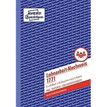 AVERY Zweckform 1771 Lohnarbeit-Nachweis (A5, selbstdurchschreibend, 3x40 Blatt) weiß/gelb/rosa