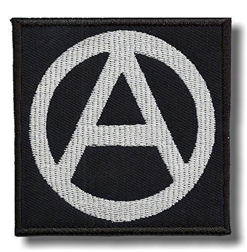 Anarchia Simbolo ricamato-toppa, 8x 8cm.