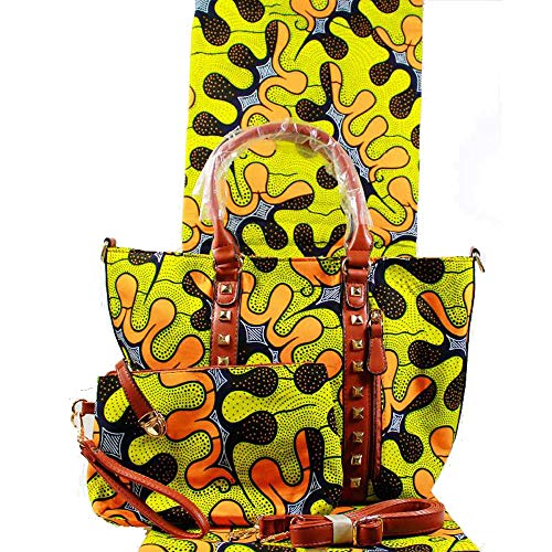 JBAG-one Handtasche für African Style Women, Print Design Shoulder Bags, Large Tote Bag, Hobo Bag, Wallet + Wachs-Fabrik 3pc,Yellow - Wallet Print Größe
