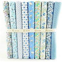 9 Telas azul cielo de 50 X 50 cm para manualidades, costura, scrapbooking, patchwork, vestidos muñecos de trapo, guirnaldas cojines, toallas...de OPEN BUY