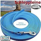 bio-leine 7,5m Schleppleine Hundeleine Leine aus Beta Biothane mit Karabiner, 16mm breit, Hellblau