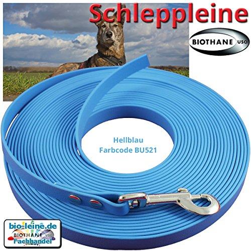 Schleppleine 16 mm aus Beta BioThane® 10 Meter lang in Neogrün mit Handschlaufe und Messingkarabiner