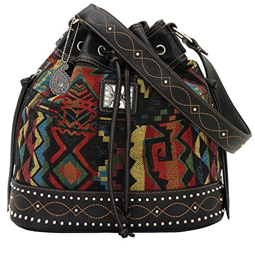 American West Bandana Drawstring Bucket Shoulder Handbag ( Bk Multi Black Canyon) (American Handtasche West)