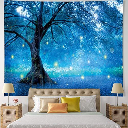 xkjymx Quadrat wanddekoration Science Fiction Traum Baum Tapisserie Tapisserie tischdecke Hause malerei blau Traum Baum YF2001 130 * 150