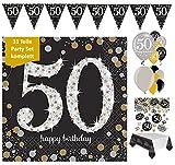 Décoration pour les 50ans par FesteFeiernAnniversaire - Ensemble de décorations d'anniversaire pour 50 ans - 31 éléments - Ballons noir, or et argent.