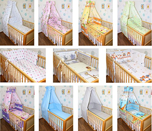 6 tlg Baby Bettset Bettwäsche Nestchen Himmel Himmelstange B09